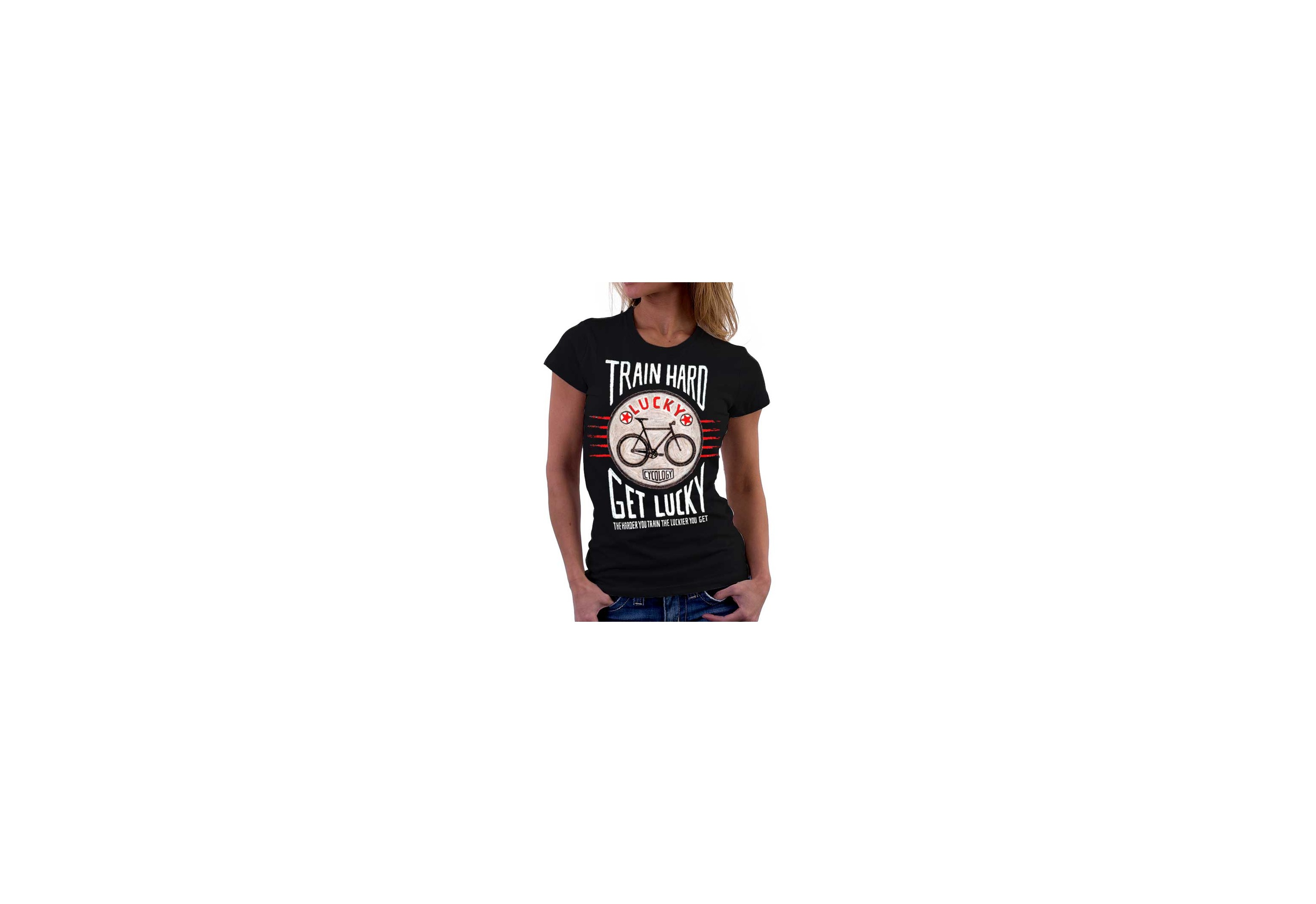 Tee-shirt TRAIN HARD GET LUCKY - femme - gris